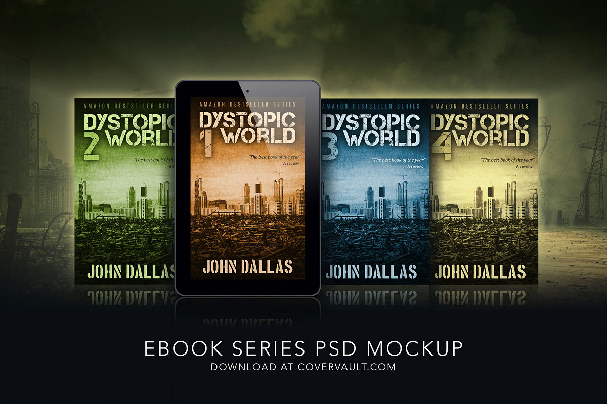 Dystopian Ebook Mockup series PSD template