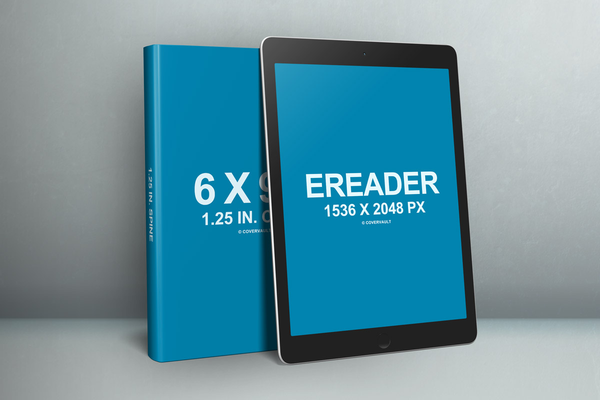 6 x 9 book with ereader promo psd template - covervault, Powerpoint templates