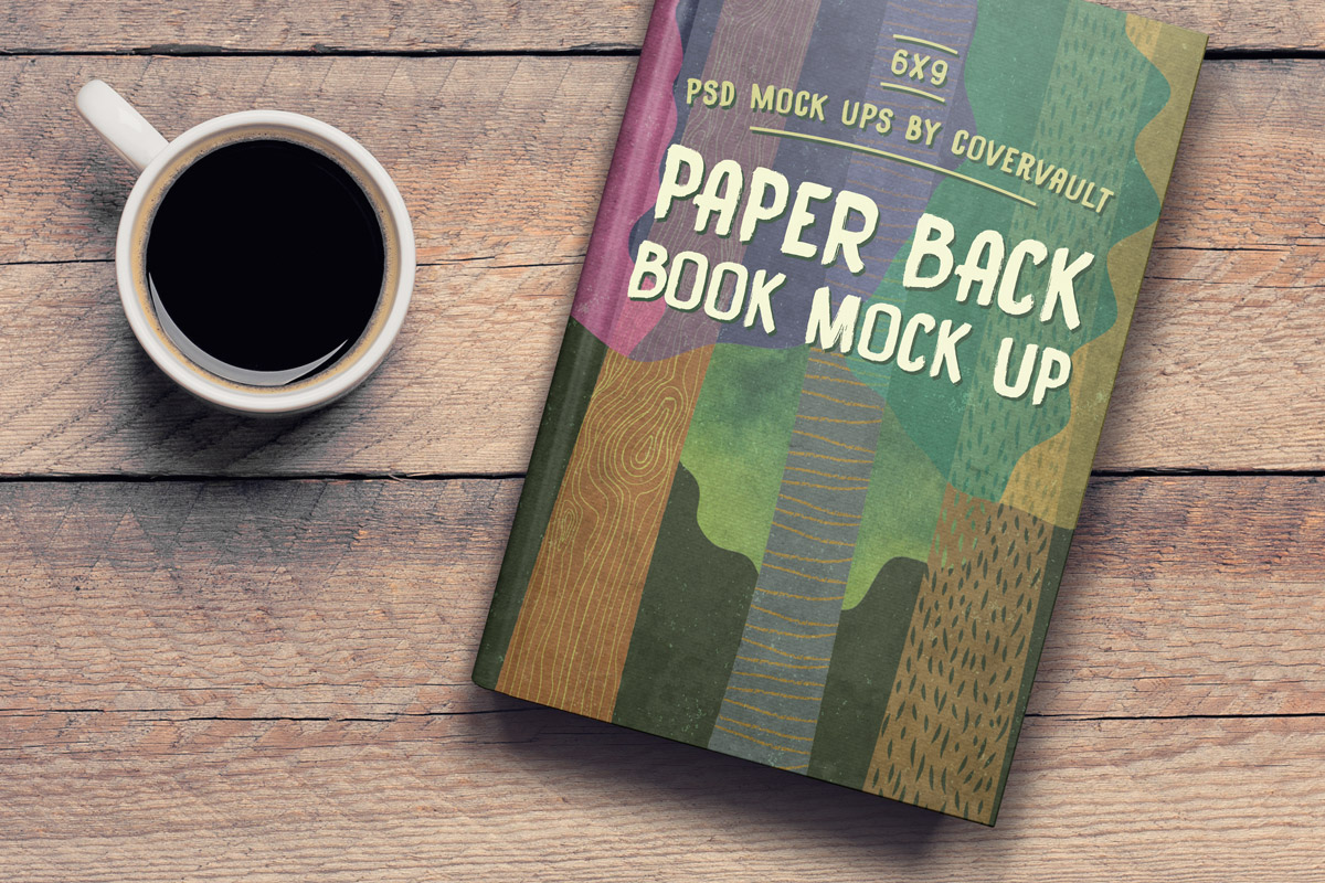 6×9 Book on Coffee Table Template Mockup