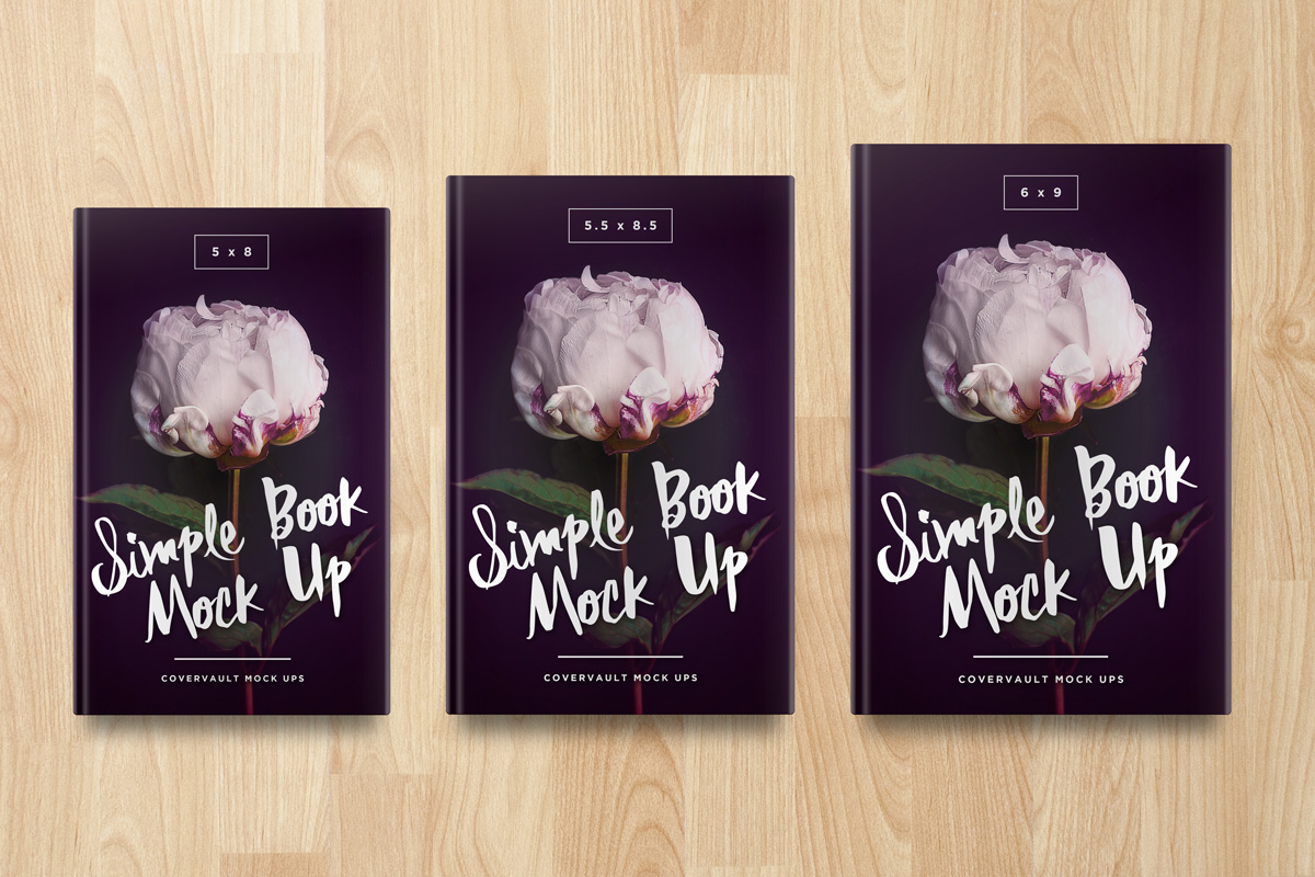 multi size hardcover book mockup PSD Template 5.5x8.5 5x8 6x9 photoshop