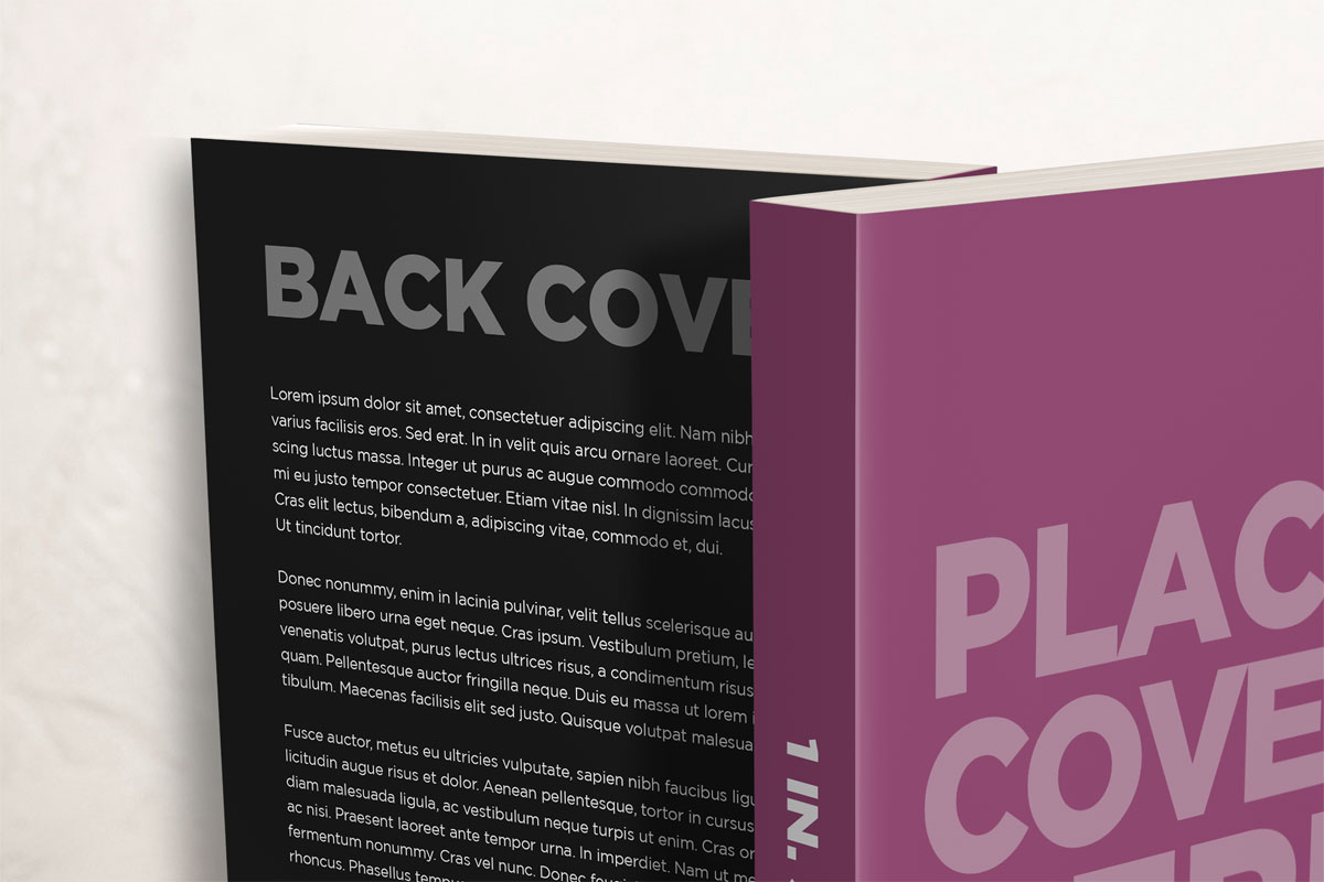 6 x 9 paperback book mockup with front and back cover