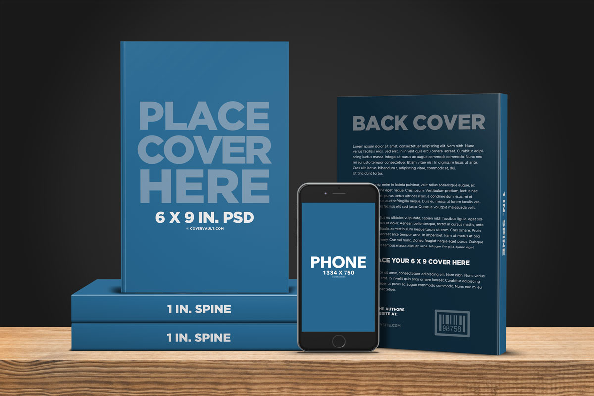 book promo template mockup with ereader iphone