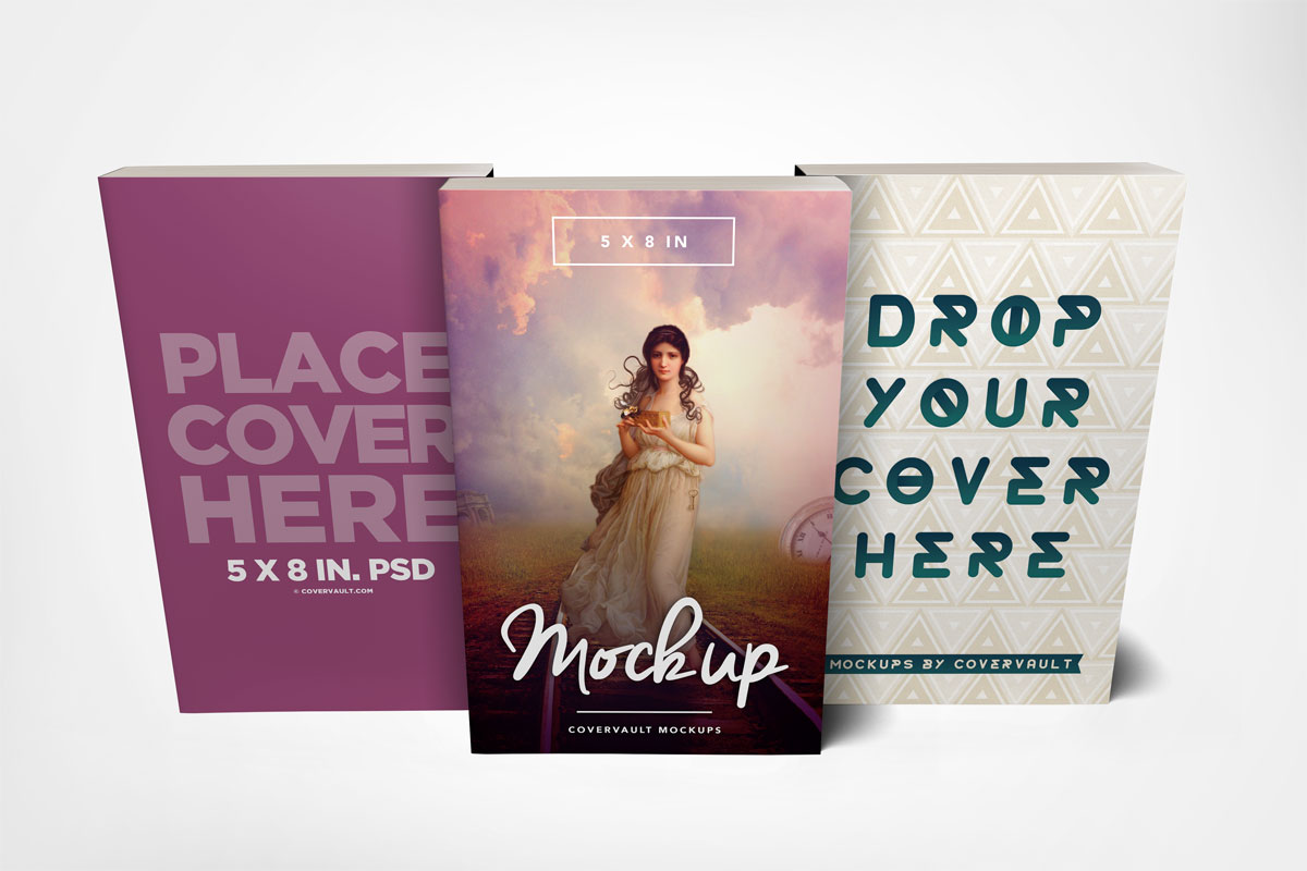 book mockup series template set group three