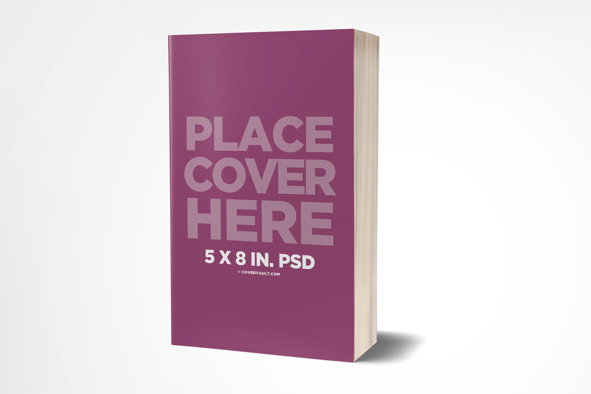 5X8 book template mockup paperback novel standing