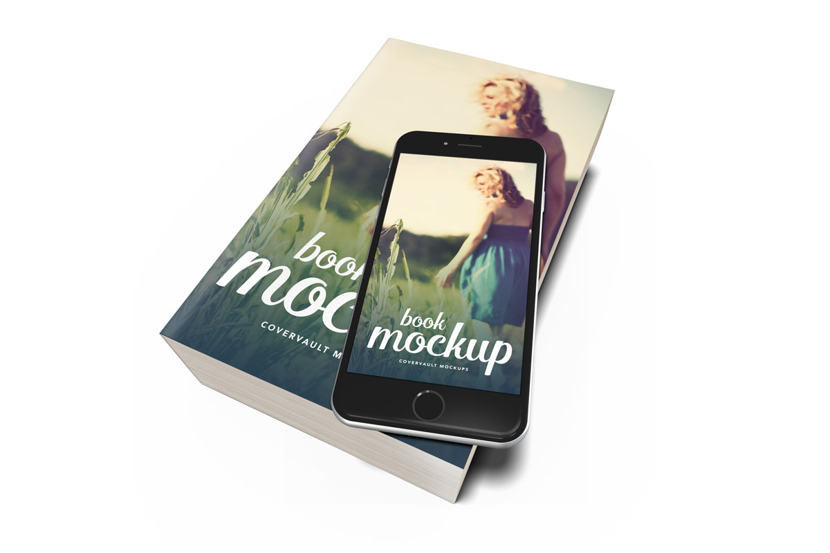 book mockup template paperback iphone