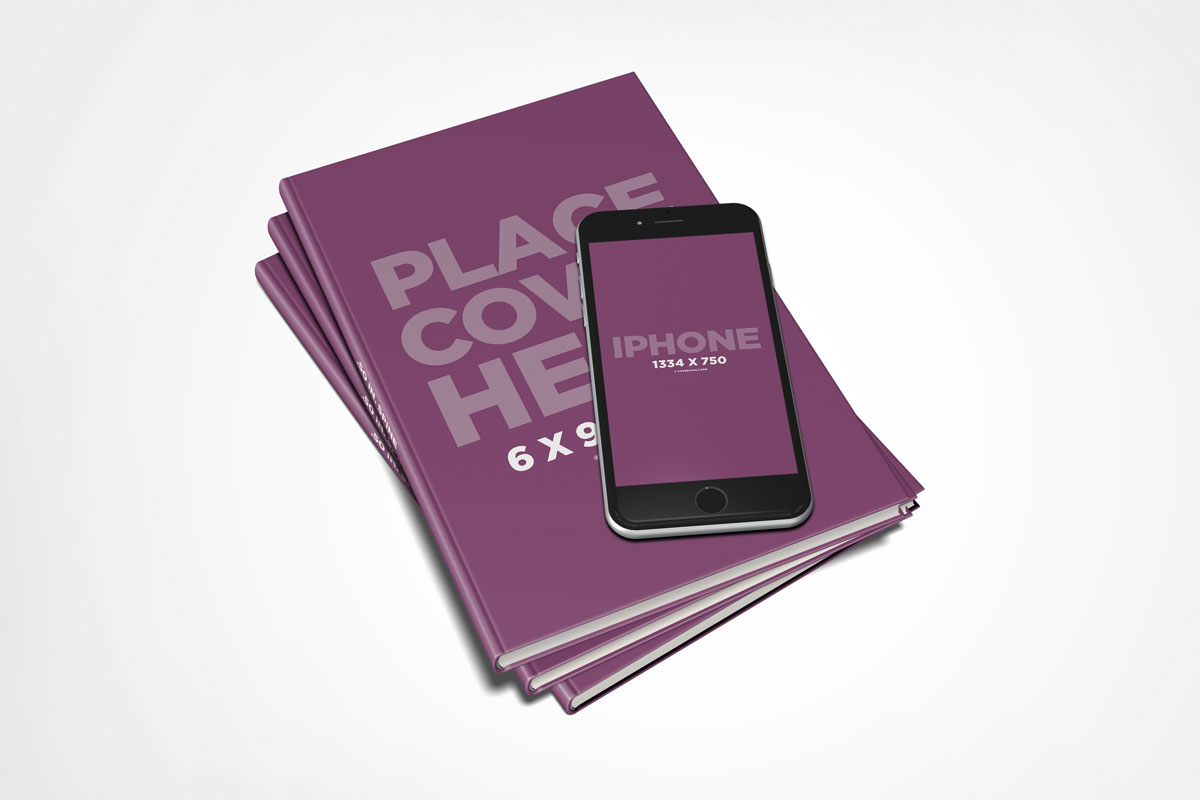 Book with iphone 6 mockup template