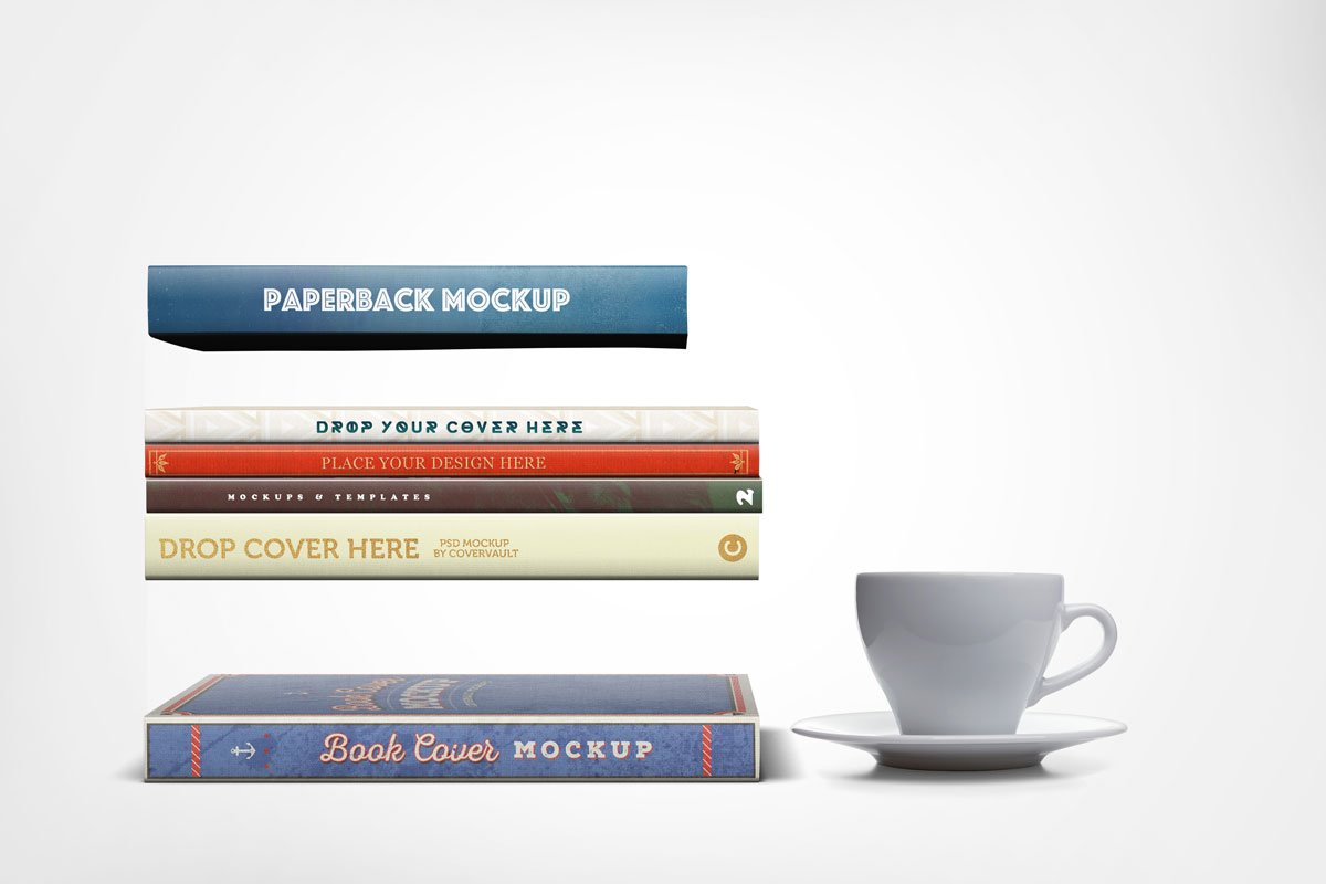 Books showing spines mockup template psd