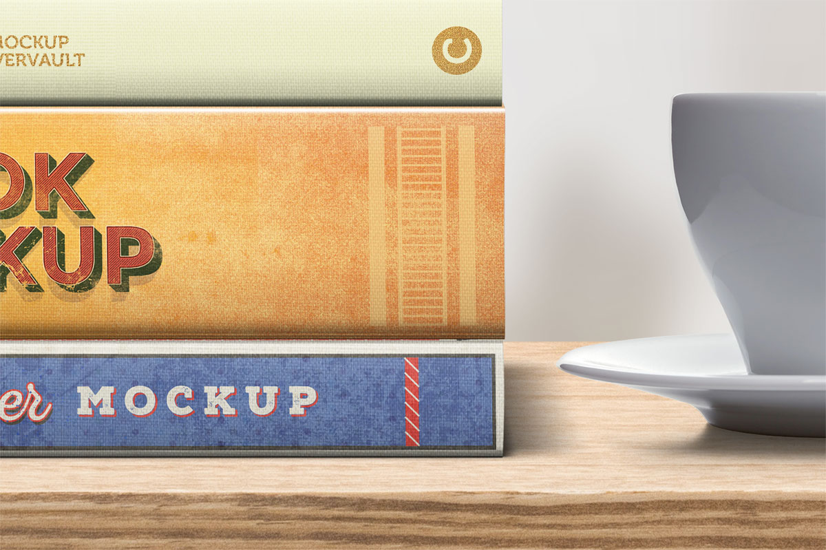 Books showing spines only mockup template psd