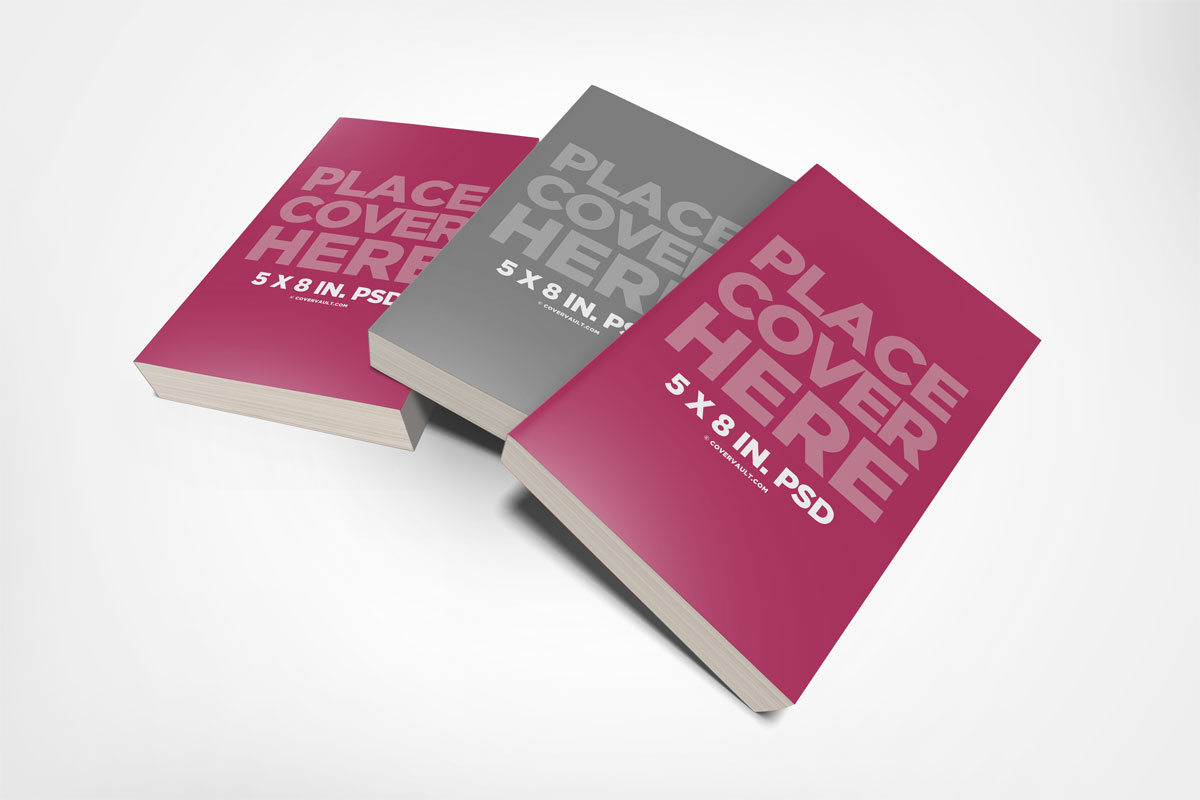 Messy 5 x 8 Book Stack Mockup