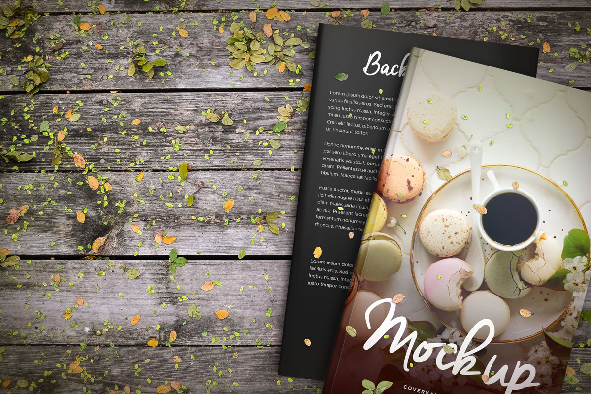 5x8 book mockup nature wood leaves front and back