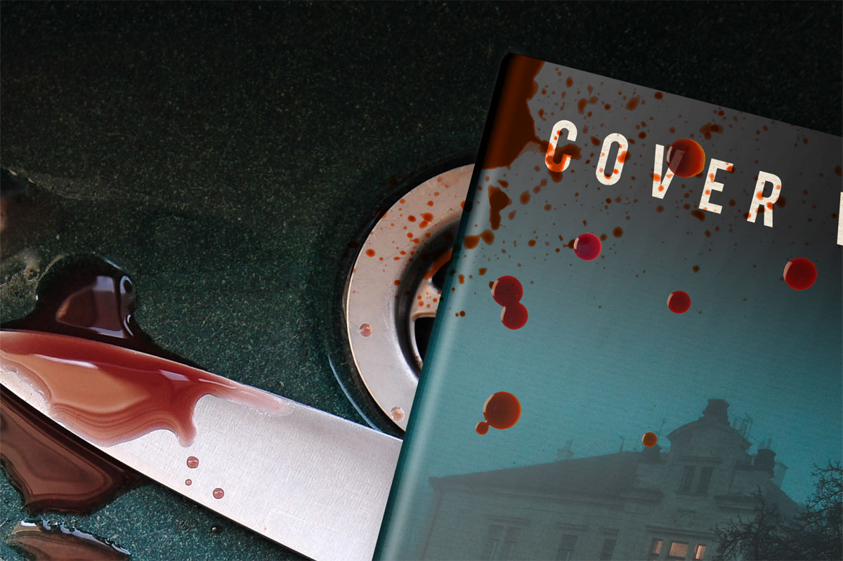 Book Covered In Blood ~ Book mockup for horror and murder covervault
