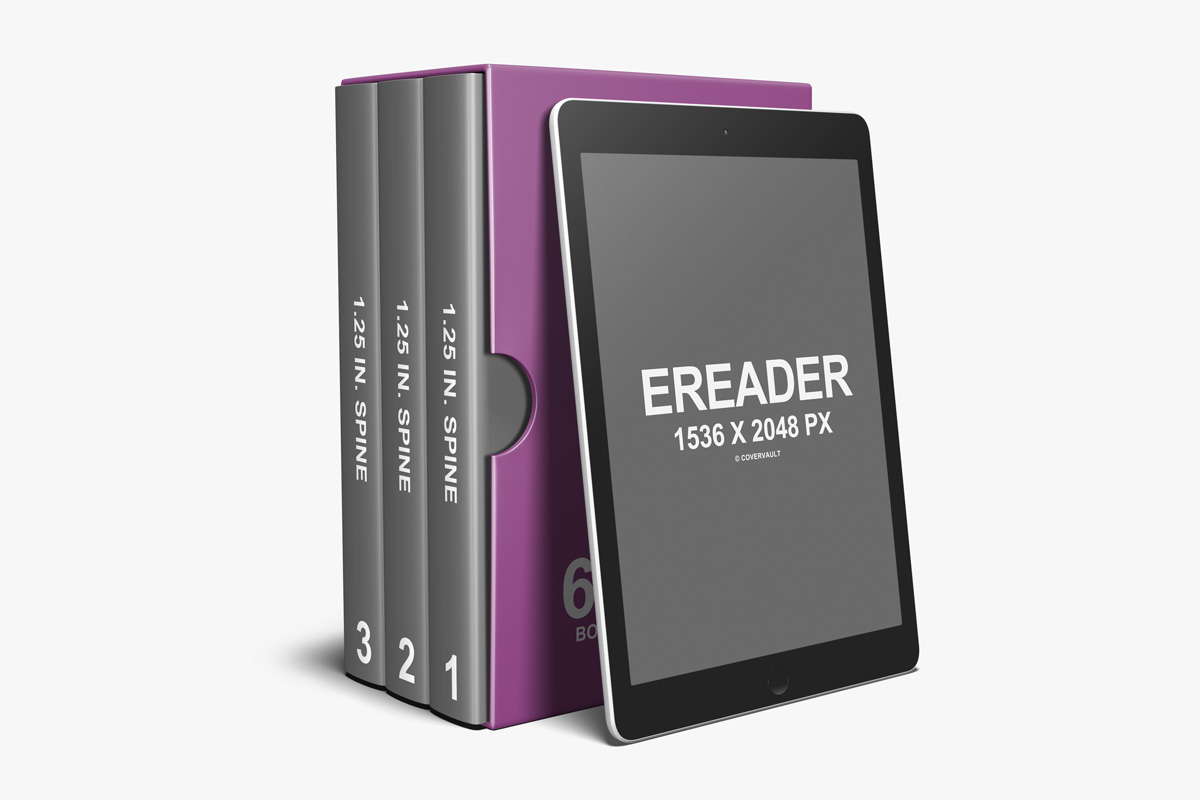 6X9 box set series ebook ereader psd template mockup