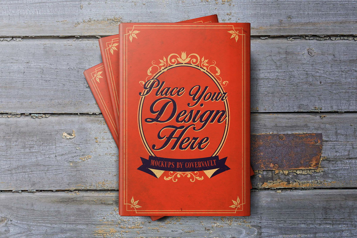 6 x 9 Book with Dust Jacket on Wood Deck Mockup