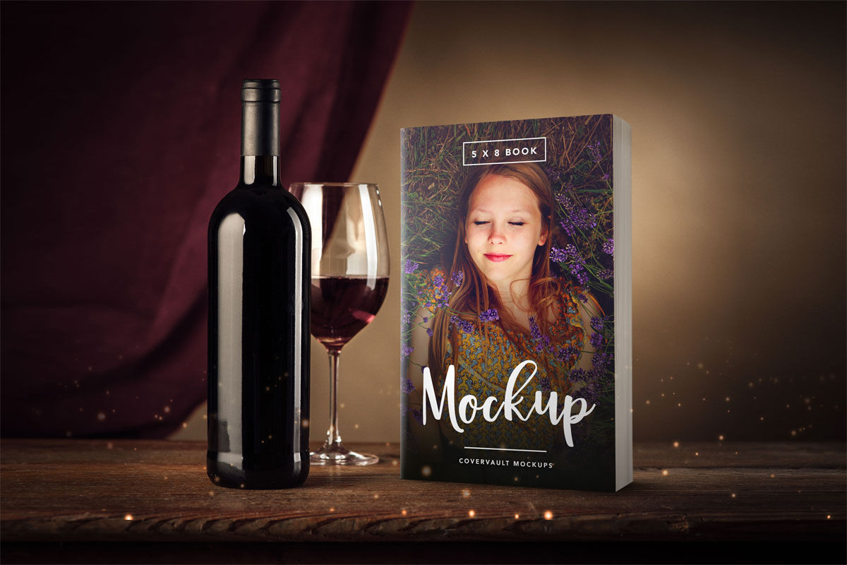 5 X 8, wine bottle, wine glass, book, template, mockup, paperback, mass market