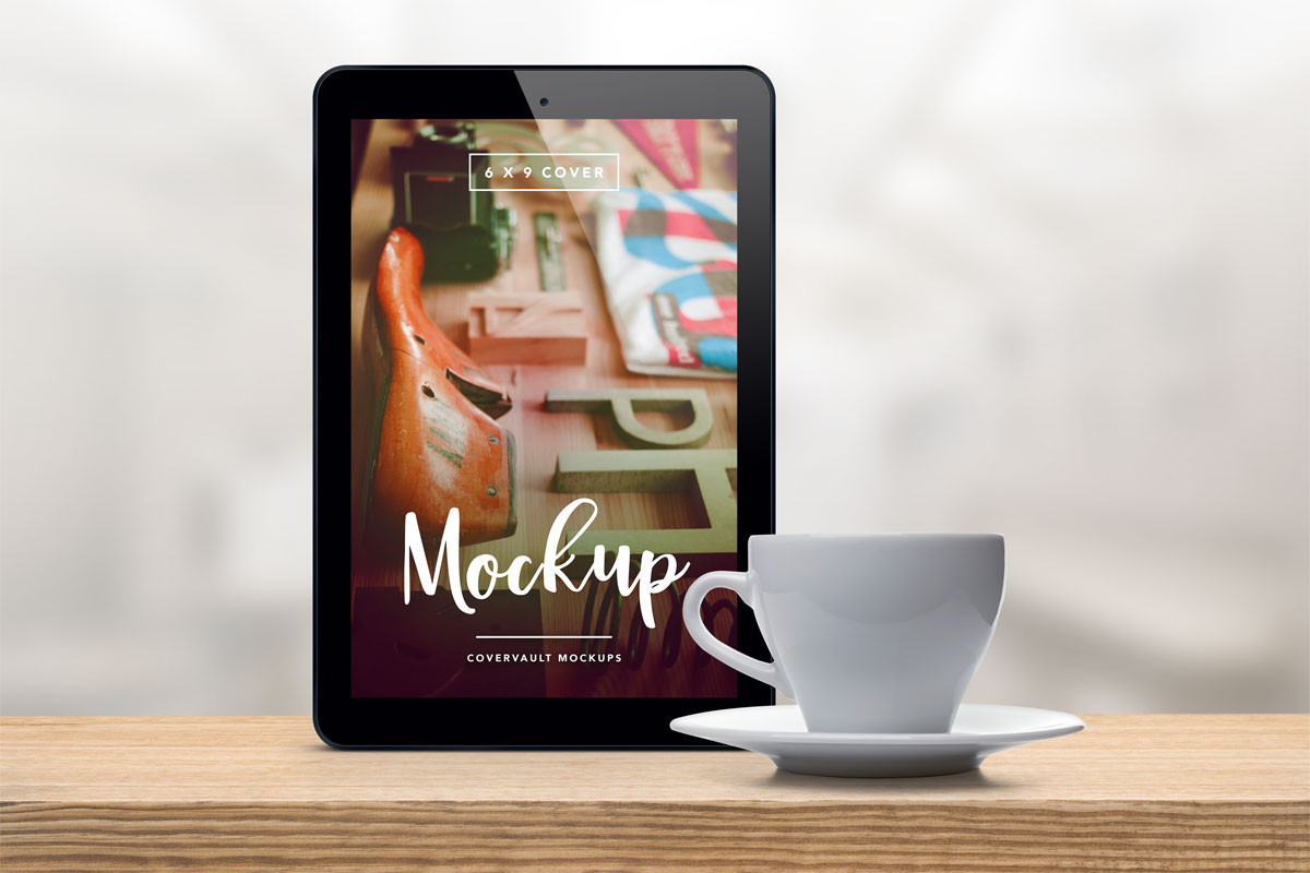 Upright Tablet with Coffee Cup PSD Mockup
