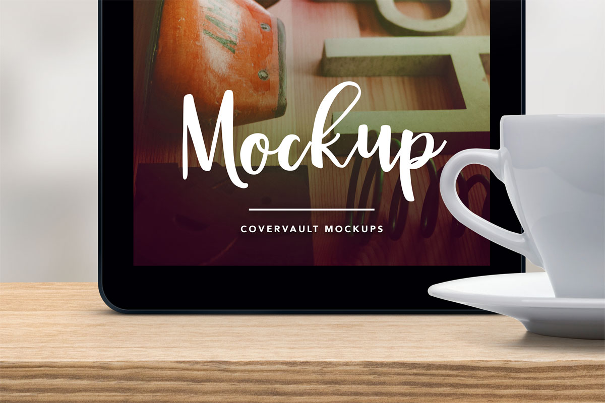 Upright Tablet With Coffee Cup Psd Mockup Covervault