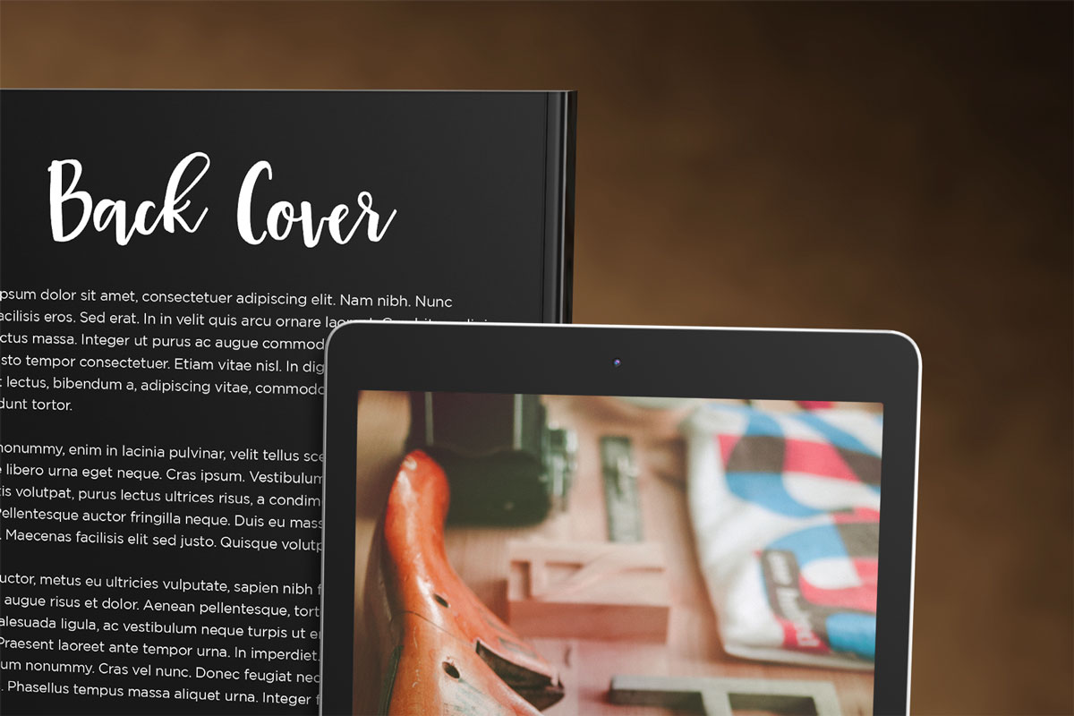 book promo template mockup with tablet or ereader ebook stacked