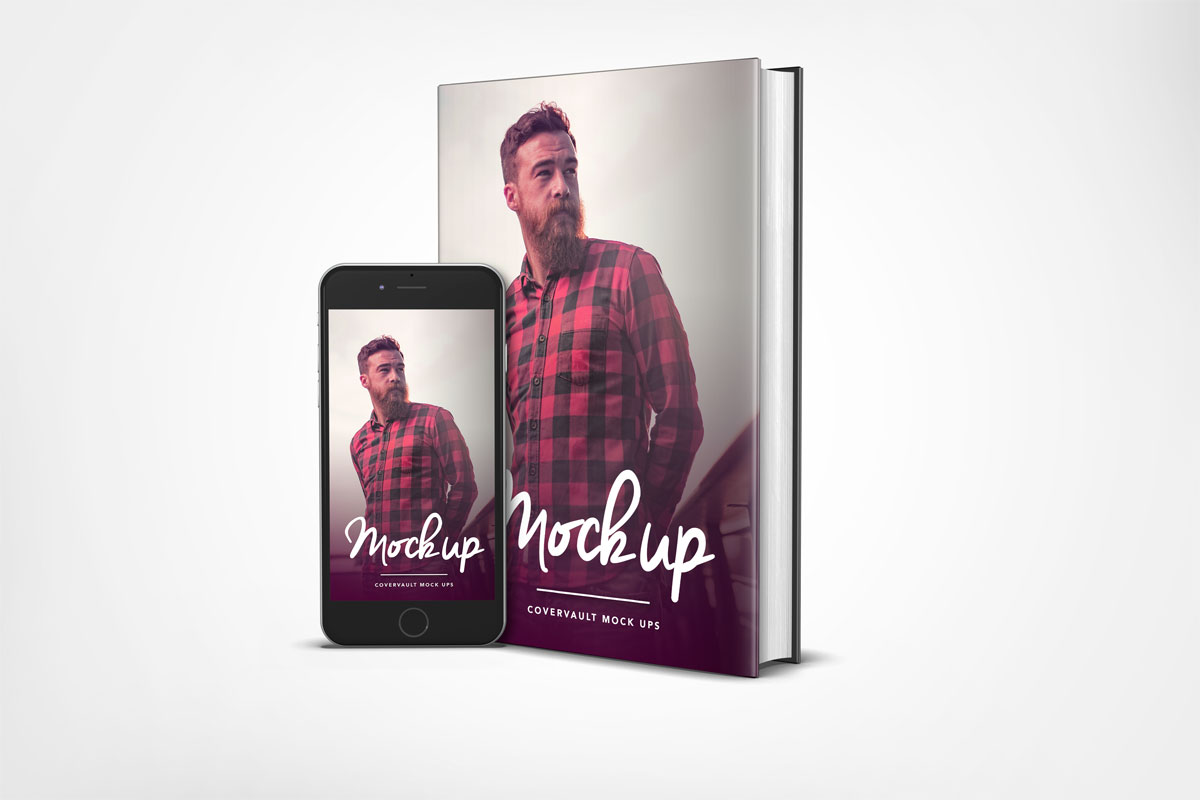 iphone 6 mockup with 6x9 book hardback dust back template