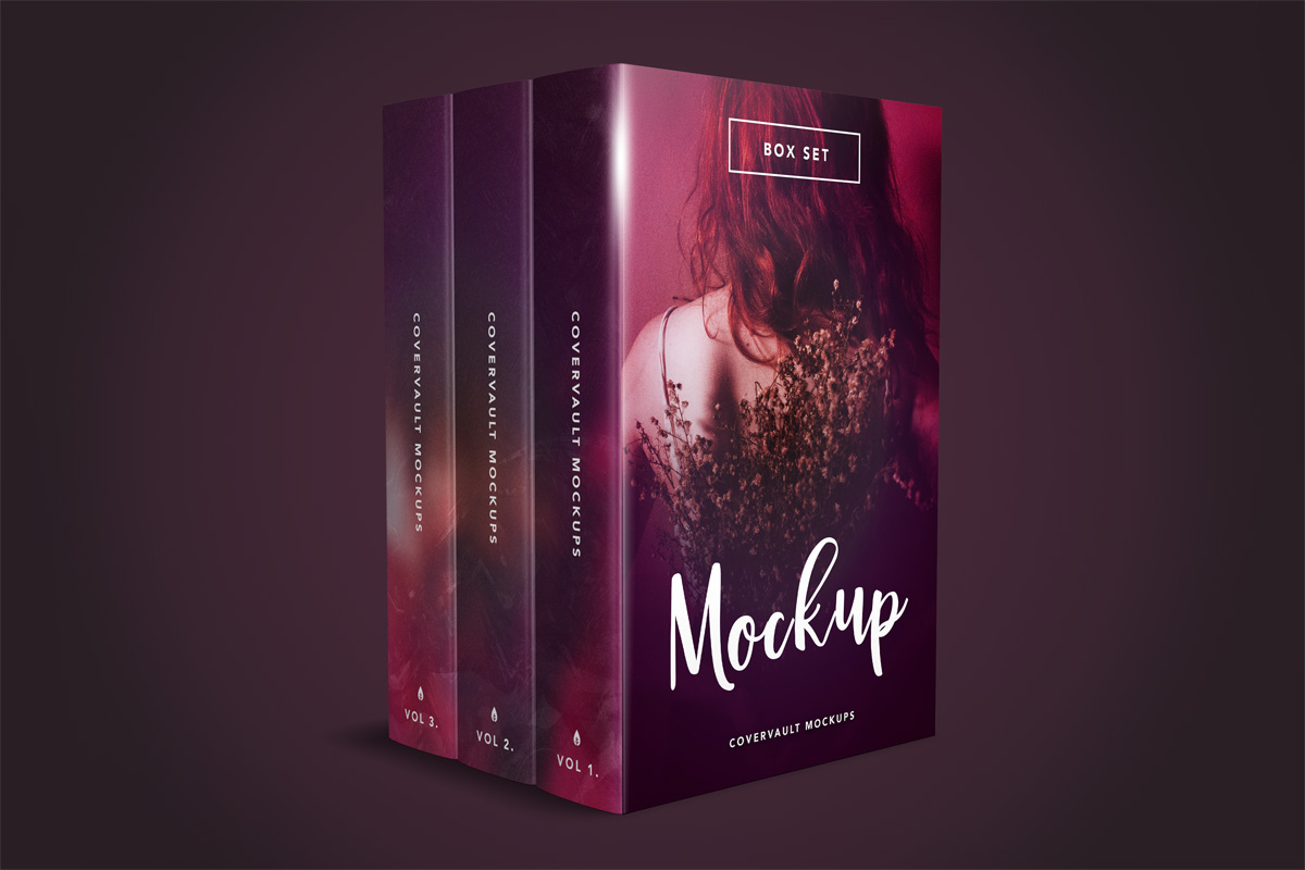 box set template mockup 3 book psd