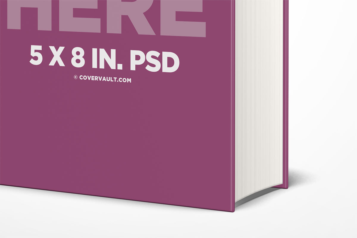 5 x 8 in  hardcover book mockup with thick spine