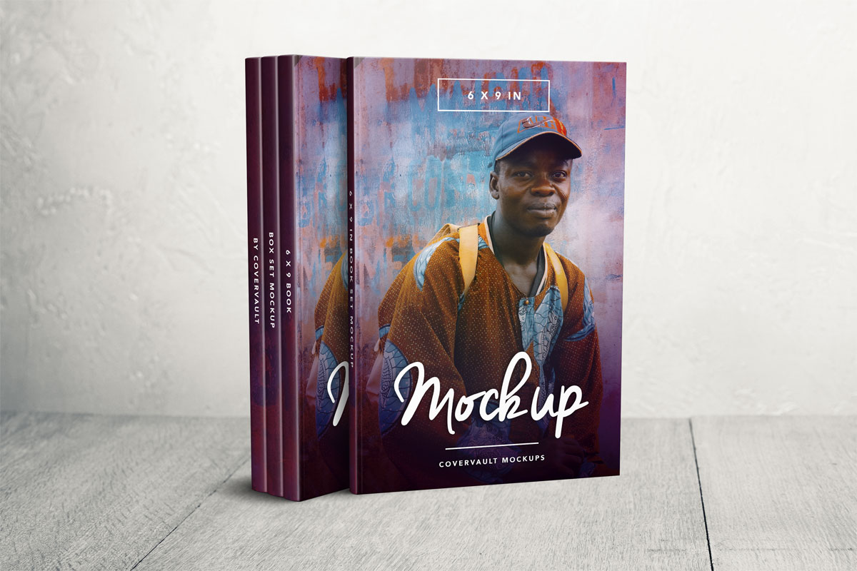 6x9 Boxset Mockup template small spine
