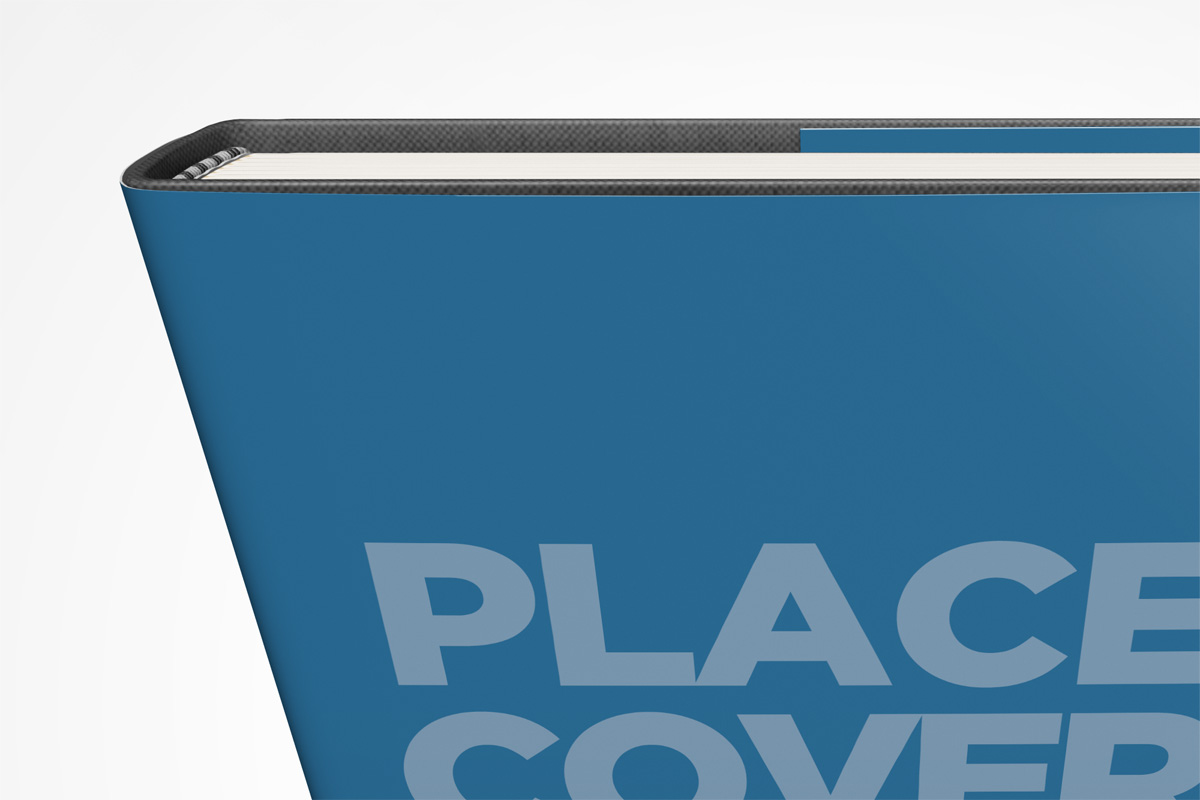 standing hardcover book mockup template with dust jacket