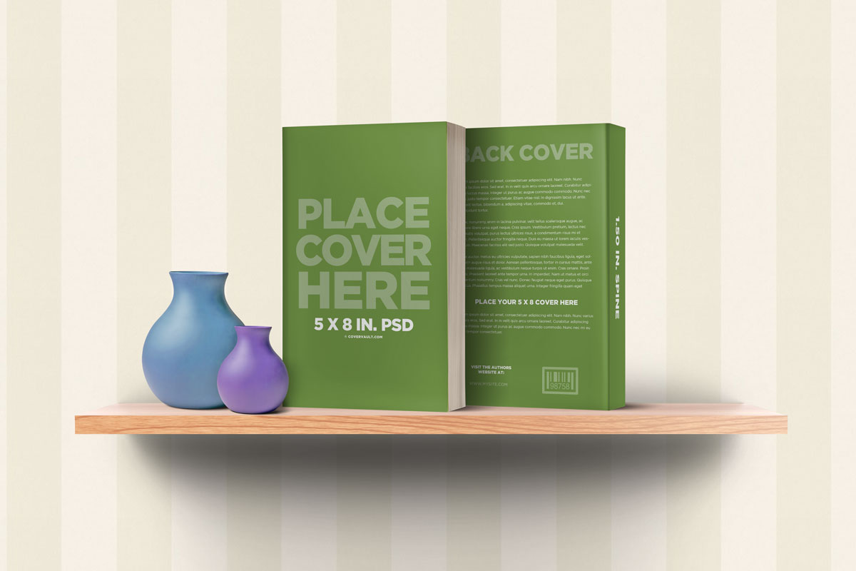 front back book cover template mockup bookshelf