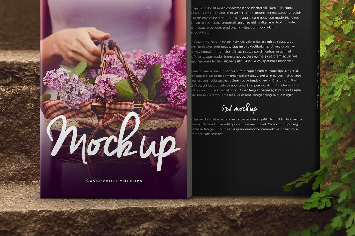 book on steps or stairs mockup template