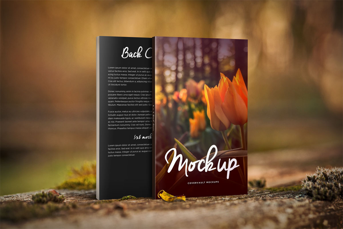 Book Cover Mockup Tutorial : Nature things front back book mockup covervault