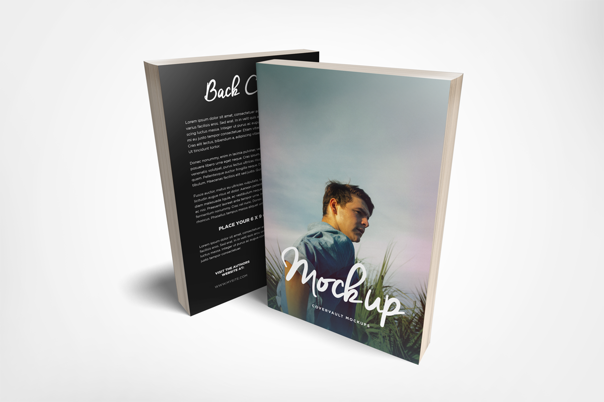 6x9 standing paperback book mockup
