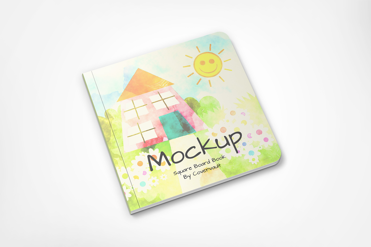 square board book mockup template children child baby template psd