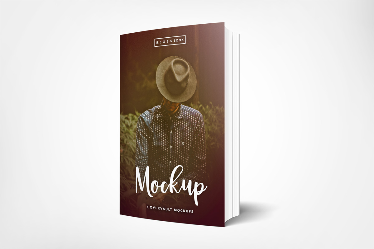 book mockup 5.5 x 8.5 standing white background paperback